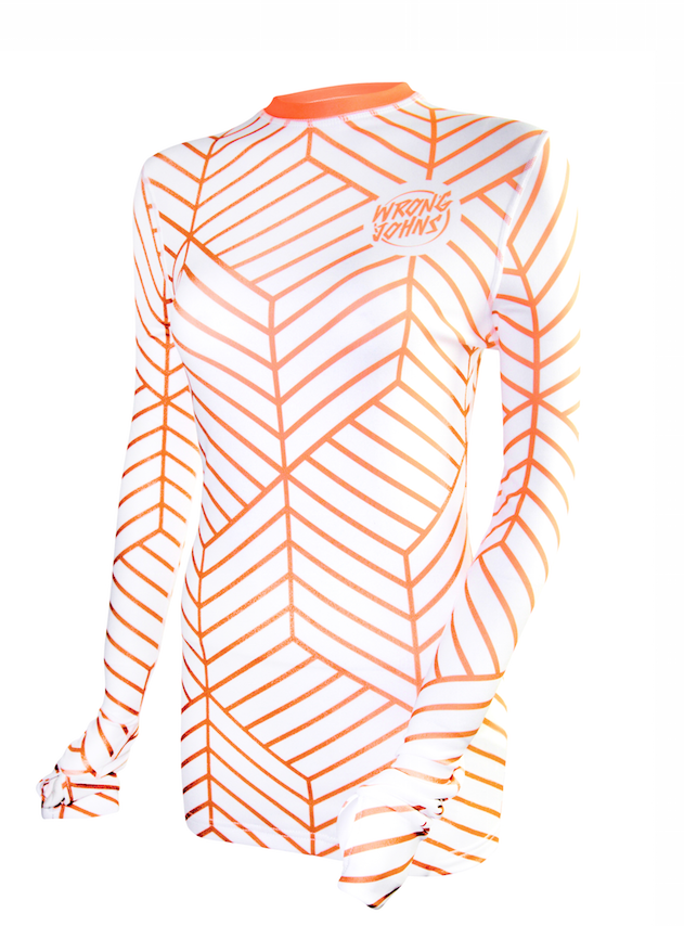 Image of Womens Orange Cubes Thermal Top