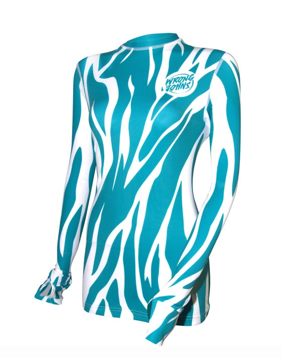 Image of Womens Turquoise Tiger Print Thermal Top