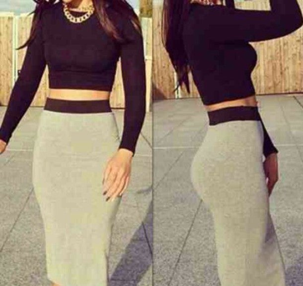 Image of Hot grey black two piece dress