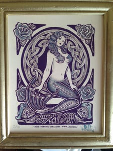 Image of MERMAID AND SKULLS 1 - Painting over print