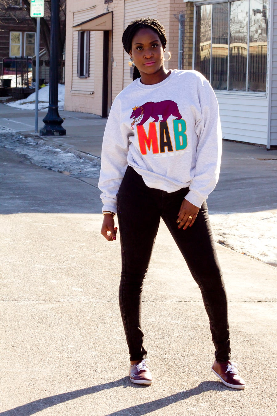 Image of MAB REPUBLIC PLUM BEAR CREW NECK SWEATERS