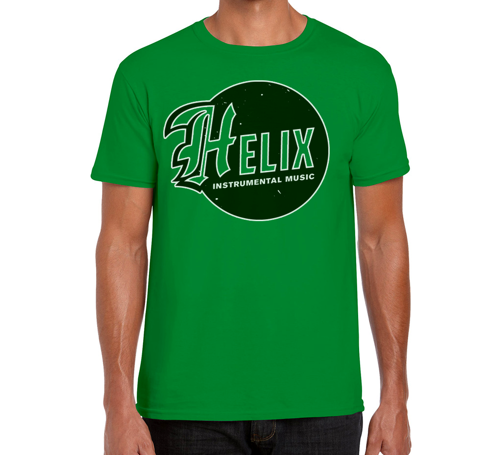 Image of Men's Helix Instrumental Logo Green T-Shirt