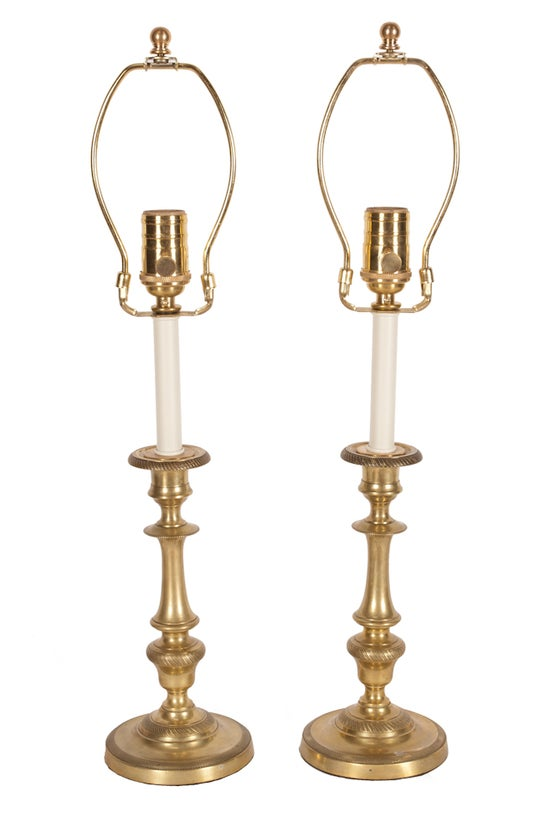 Image of Pair of Brass Candlestick Lamps