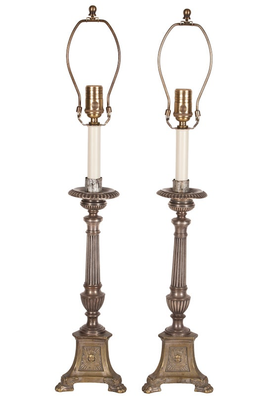 Image of Pair Of Vintage Brass Candlestick Lamps