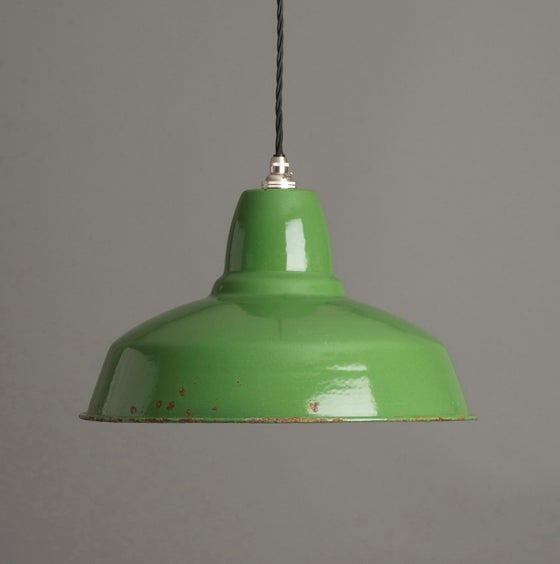Image of Green Enamel Industrial Pendant