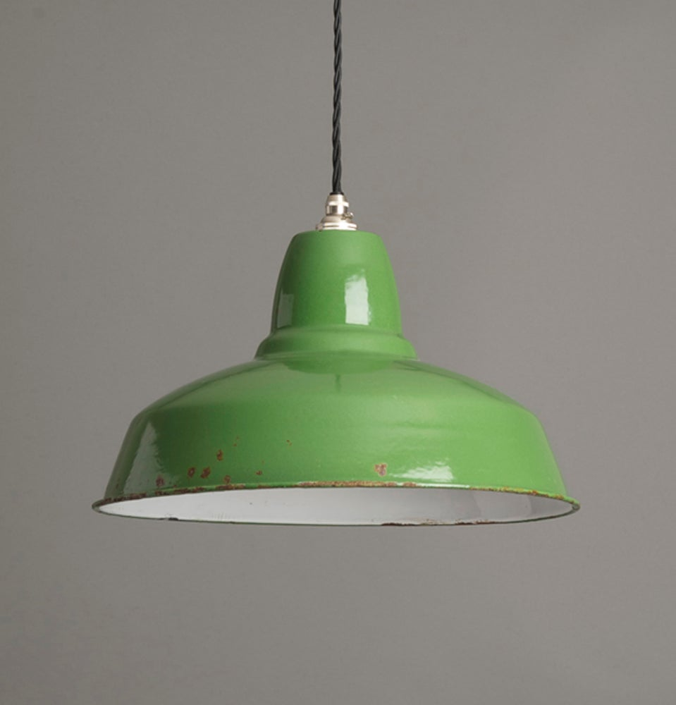 Industrial Pendant Light Green: Green Enamel Industrial Pendant / Hütte