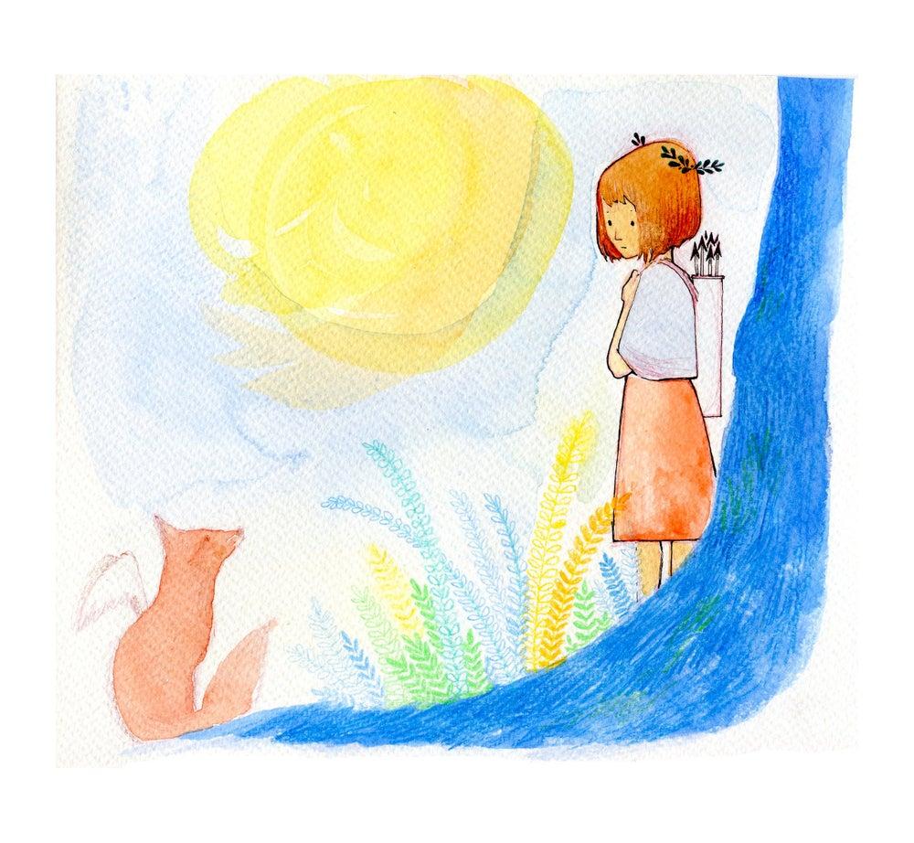 Image of communing with fox spirit :: archival art print