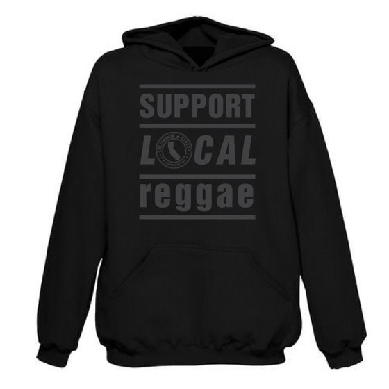 Image of SUPPORT LOCAL REGGAE BLACKOUT BLACK HOODIE