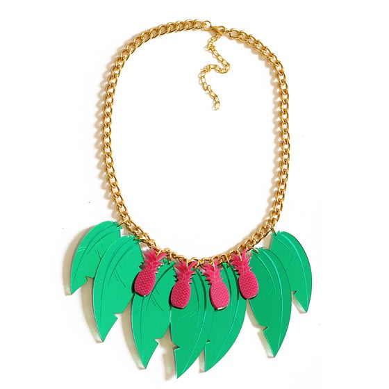 Image of Tropical Leaf Necklace- Pink Pineapples