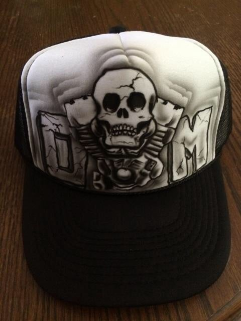 Image of Custom airbrushed Octane Mob trucker hat.