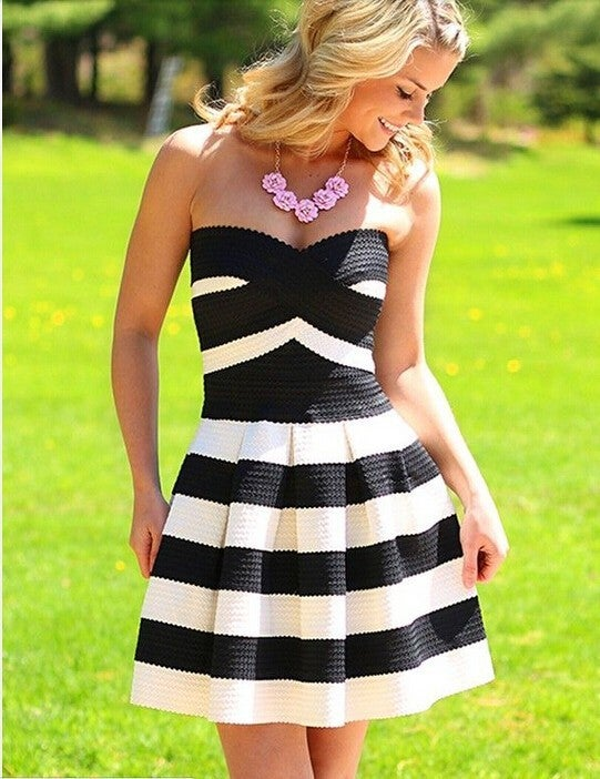 Image of Hot strapless dress green and black