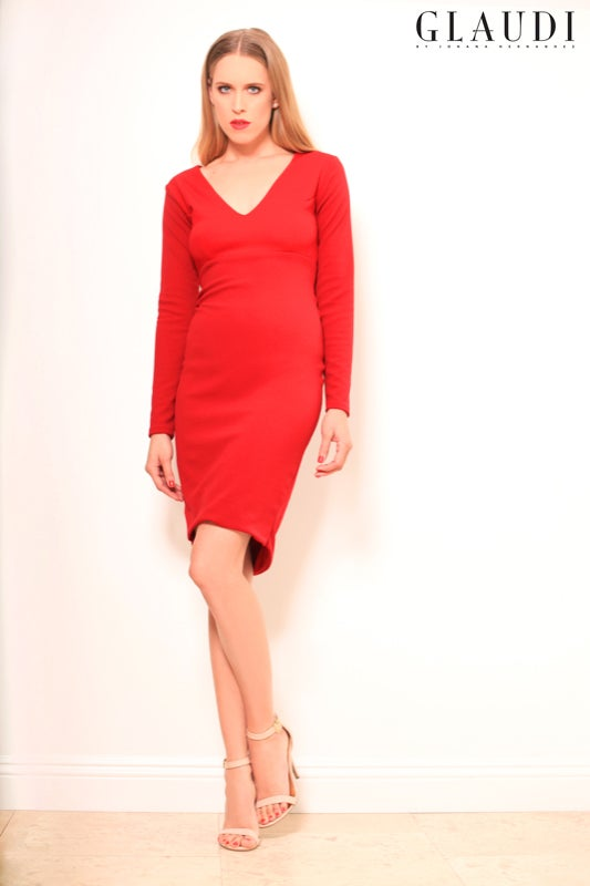 Image of GLAUDI RED DRESS LONG SLEEVE