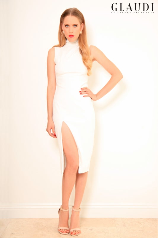 Image of GLAUD WHITE DRESS WITH SLIT