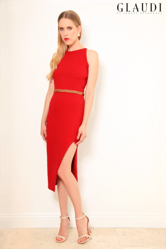 Image of GLAUDI RED DRESS WITH SLIT