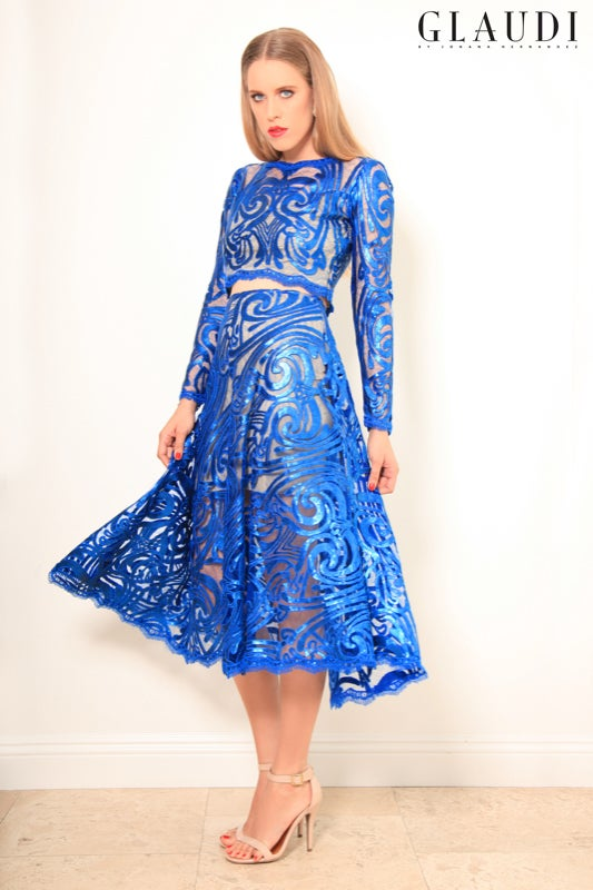 Image of GLAUDI BLUE SEQUINS 2 PIECE