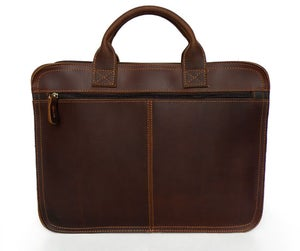 Image of Handmade Vintage Leather Briefcase / Messenger Bag / Laptop Bag in Old Reddish Brown (n16)