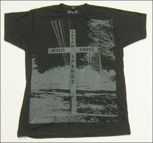 "Image of MJL ""Jesus Saves Satan Spends"" Heather Charcoal T-Shirt"