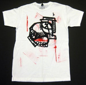 """Image of MJL """"Abstract Red Round Face"""" White T-Shirt"""
