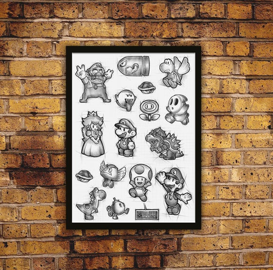 Image of Family! Limited Edition Biro Drawn Print plus free mystery sticker!