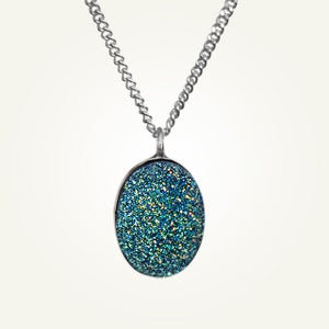 Image of Large Oval Blue Green Druzy Necklace, Sterling Silver