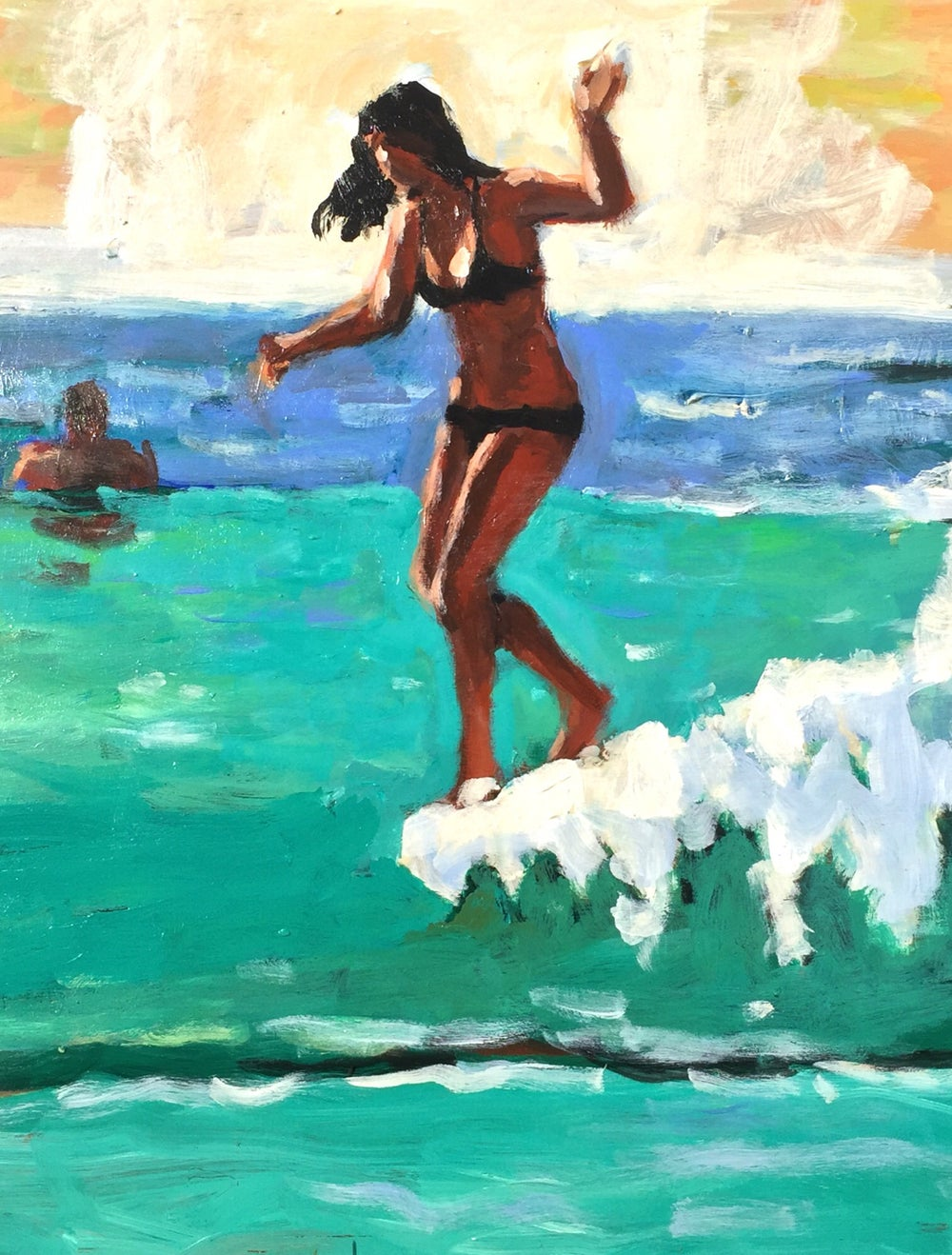 "Image of ""Spring break"" 12 x 16 embellished/signed giclee on stretched canvas"