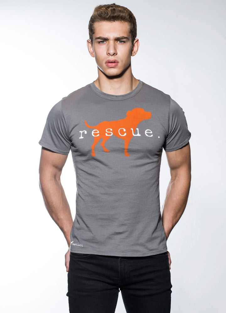 "Image of slim fit guy's premium ""rescue"" tee. cement grey with orange dog logo"