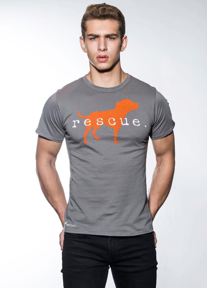 "Image of slim fit guy's premium ""rescue"" tee. cement grey with orange dog logo"