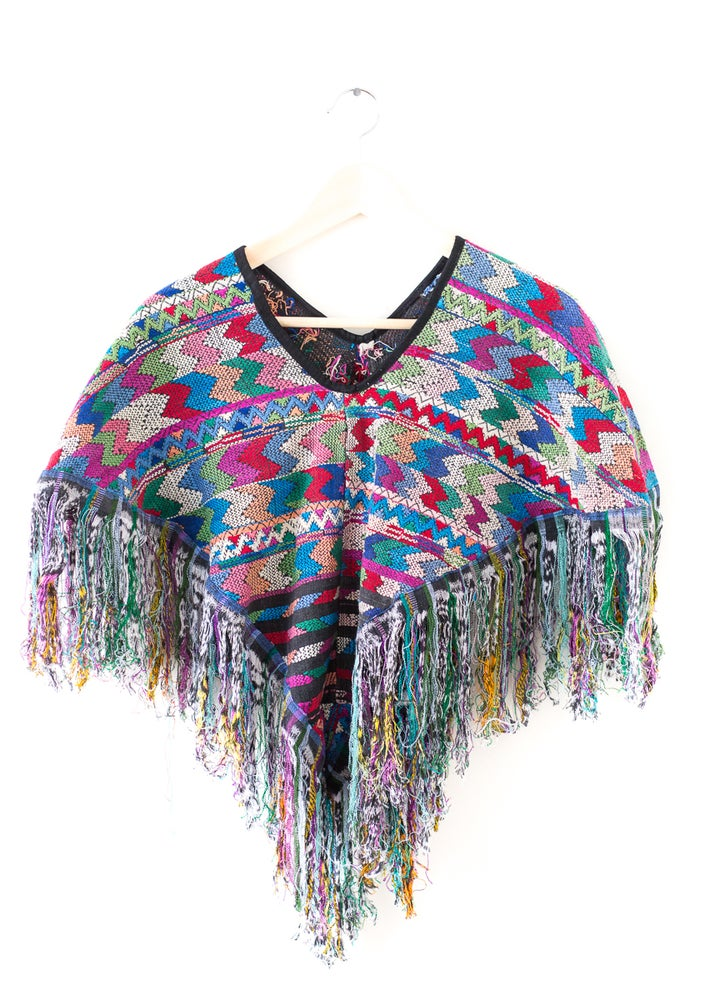 Image of Condesa Embroidered Poncho - Blue