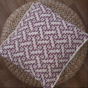 """Image of Basket weave hand knit cushion - 18"""" x 18"""" with zip fastening"""