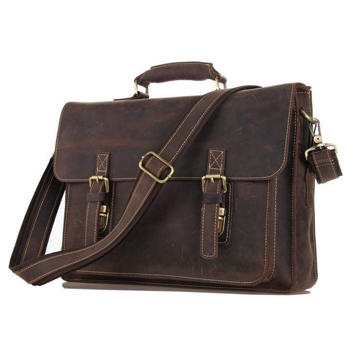 """Image of Vintage Handmade Antique Leather Briefcase Messenger 13"""" 15"""" MacBook 13"""" 14"""" 15"""" Laptop Bag (n29)"""