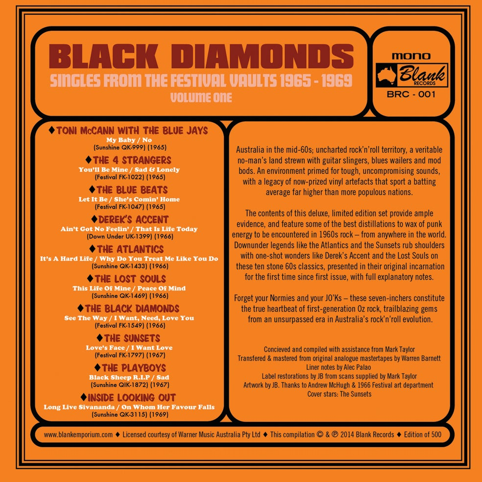 Image of Black Diamonds : Singles From The Festival Vault 1965 - 1969 Volume One (10 x 45 BOX SET)