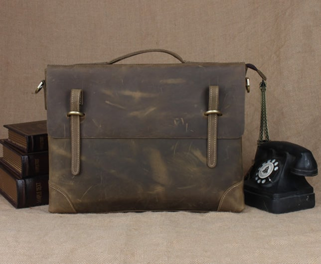 "Image of Vintage Handmade Crazy Horse Leather Briefcase Messenger 13"" 14"" Laptop 13"" 15"" MacBook Bag (n04-3)"