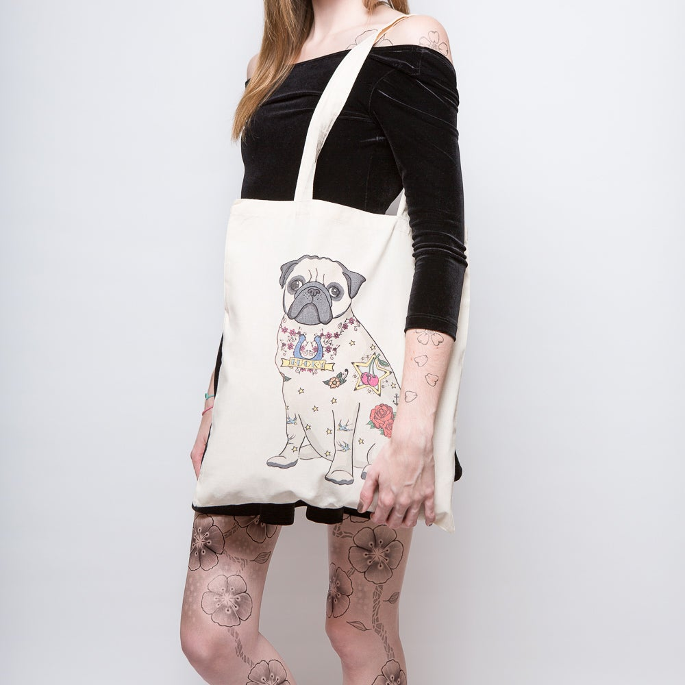 Image of Tattoo Pug Tote Bag