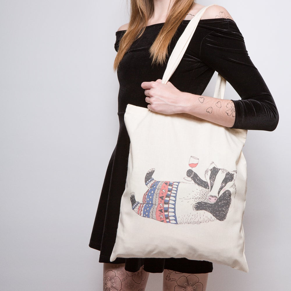 Image of Tipsy Badger Tote Bag