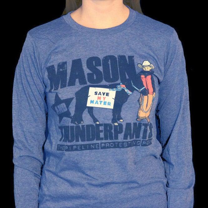 "Image of Blue ""Mason & Thunderpants, The Pipeline Protesting Pony"" Shirt"