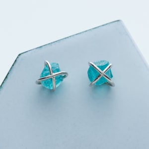 Image of Better Late Than Never Cross Hatch Stud Earrings