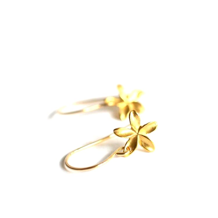 Image of Tiny gold plumeria earrings