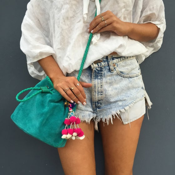 Image of Emerald Suede Bucket Bag