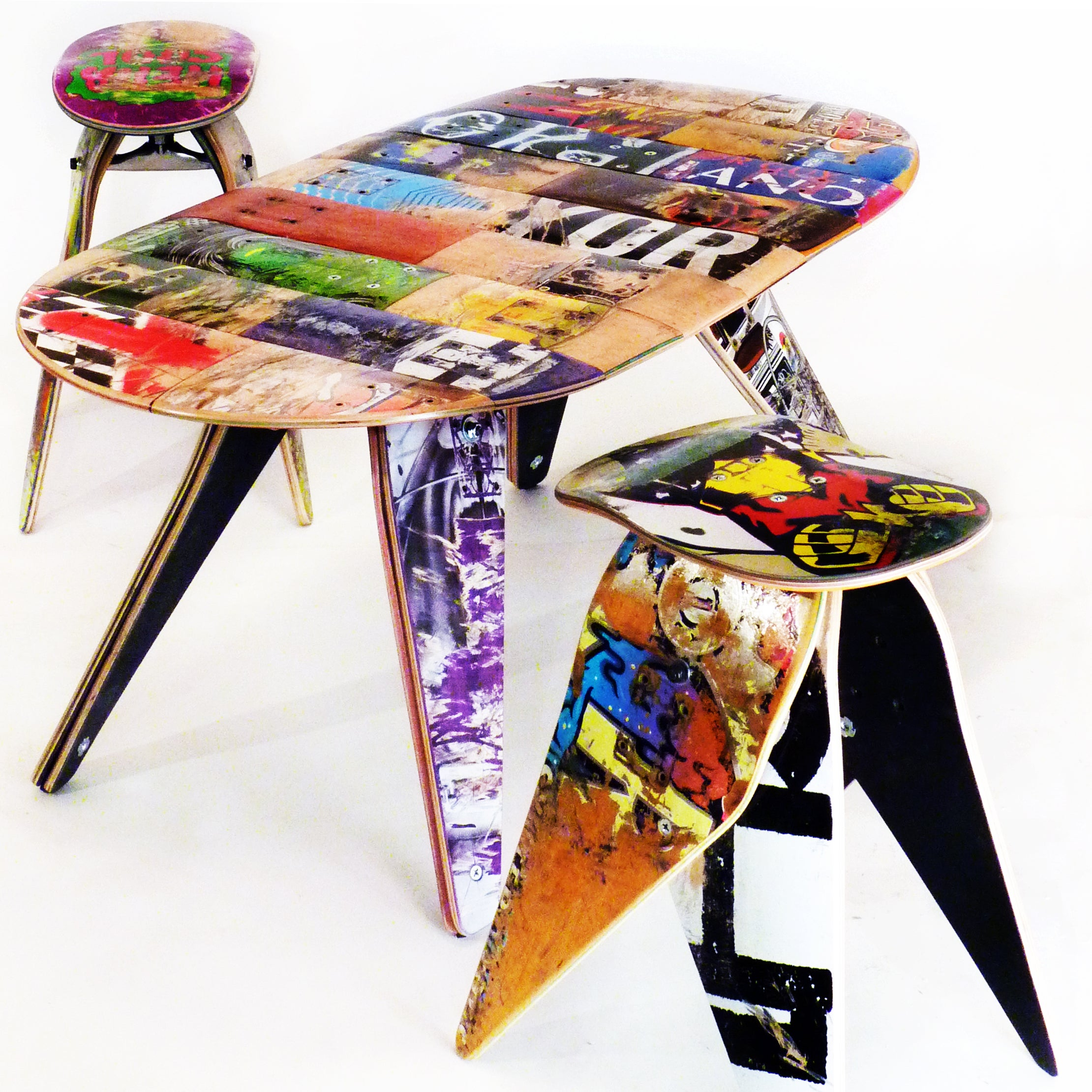 Skateboard Table Recycled Skateboard School Bench Recycled