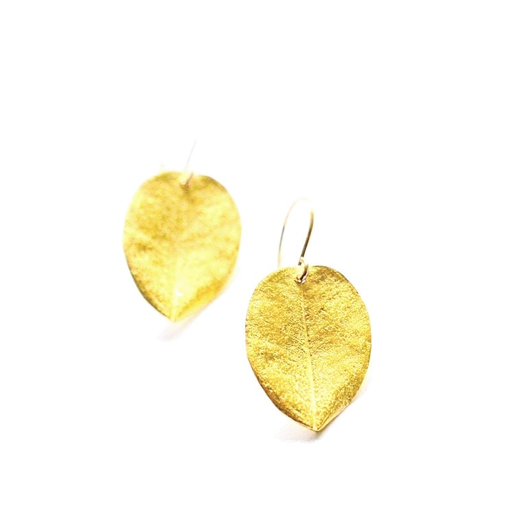 Image of Medium Ohi'a leaf earrings gold