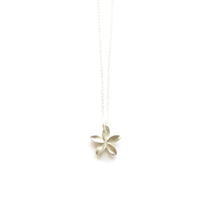 Image of Pua Melia Plumeria Necklace silver