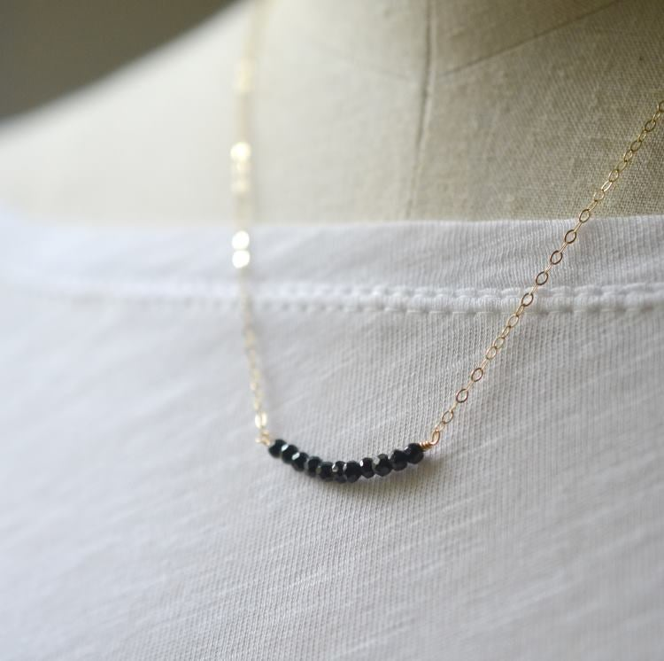 Image of Black spinel curve necklace