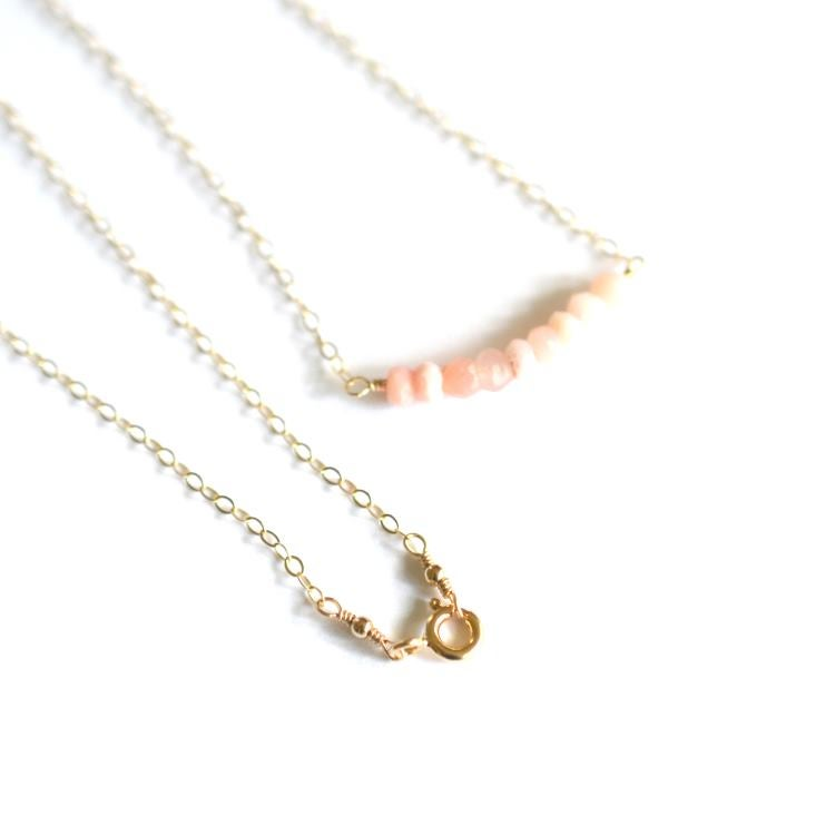 Image of Pink opal curve necklace