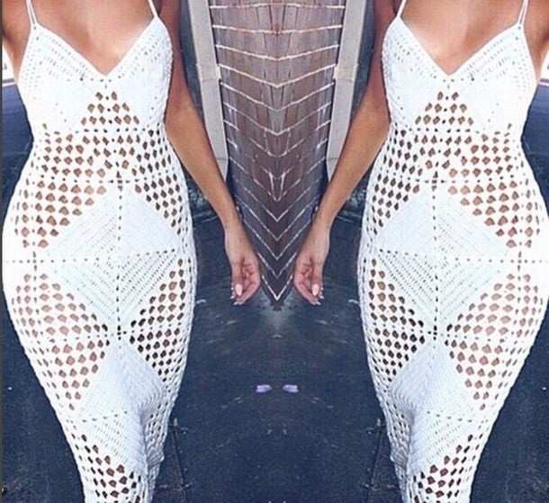 Image of HOLLOW-OUT SWEATER LONG BANDAGE DRESS HOT