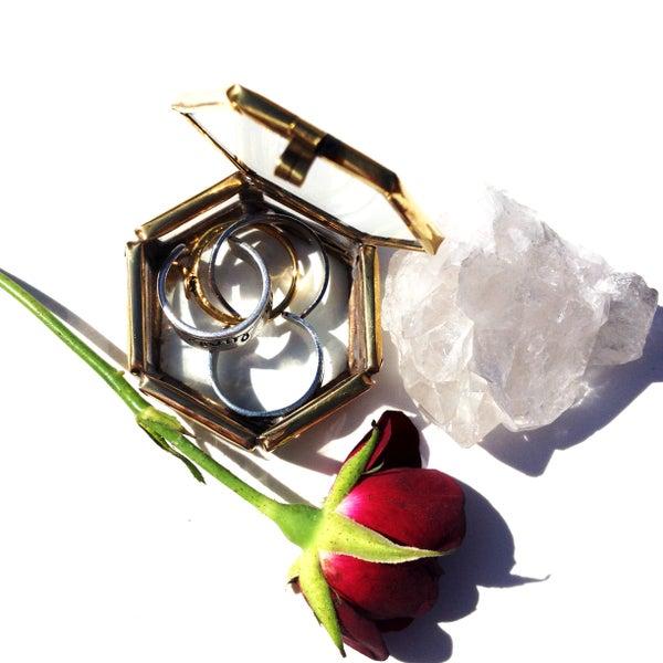 Image of Hexagonal Glass Ring Box