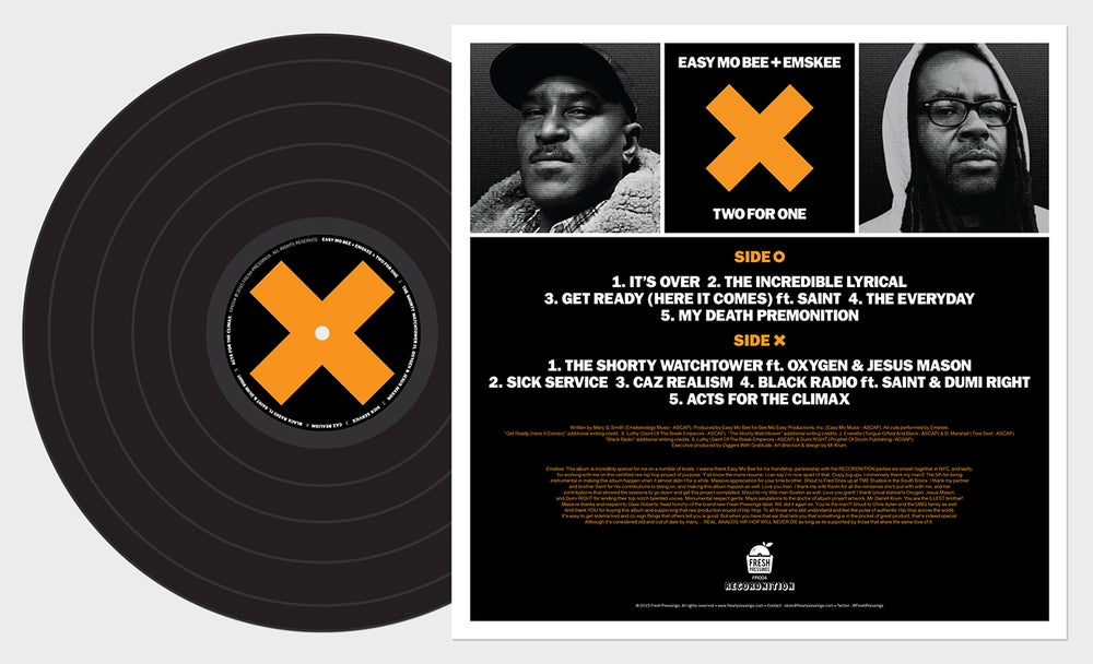 Image of Easy Mo Bee & Emskee - Two For One LP (FPI004) (BLACK VINYL)