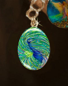 "Image of Peacock ""Bodhisattva Awakening"" Energy Charm"