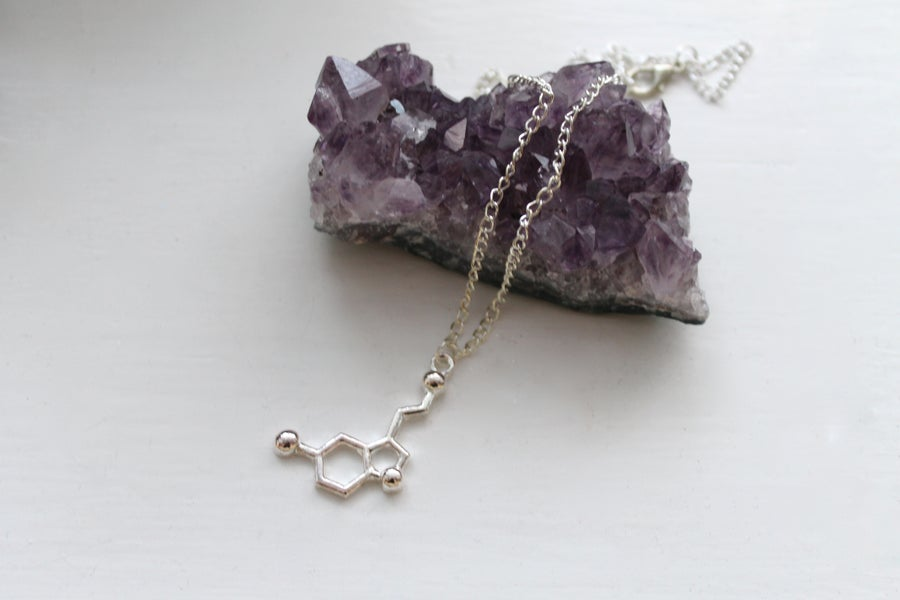 Image of Serotonin Molecule Necklace