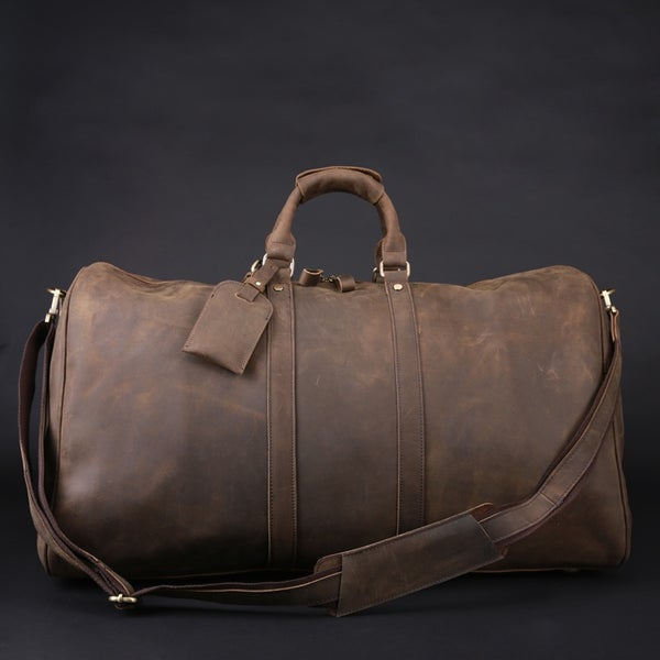 Image of Men's Handmade Vintage Leather Travel Bag / Luggage / Duffle Bag / Sport Bag / Weekend Bag (n66-3)