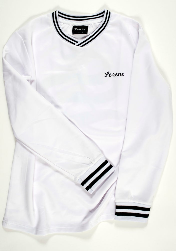 Image of White Soccer Jersey Long Sleeve